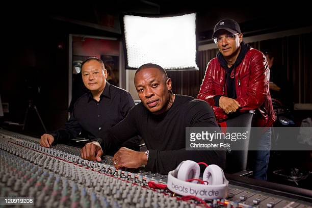 Peter Chou Dr Dre and Jimmy Iovine announce the strategic partnership of HTC and Beats by Dr Dre on August 10 2011 in Los Angeles California