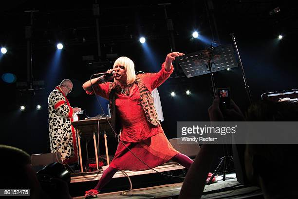 Peter Christopherson and Genesis P Orridge of Throbbing Gristle perform on stage at Coachella Festival 2009 at Empire Polo Field on April 19 2009 in...