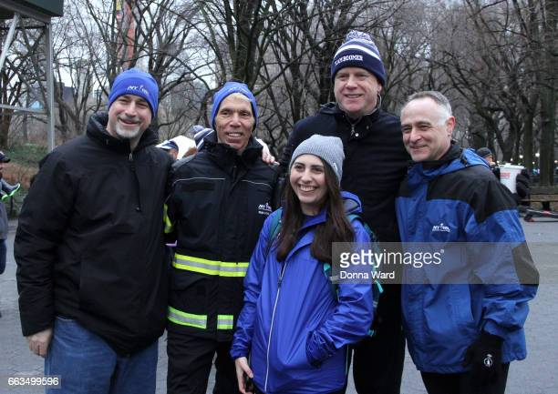 "Peter Ciaccia, Boomer Esiason and Michael Capiraso appear during Boomer's Cystic Fibrosis ""Run To Breathe"" Charity Event at Central Park Bandshell on..."