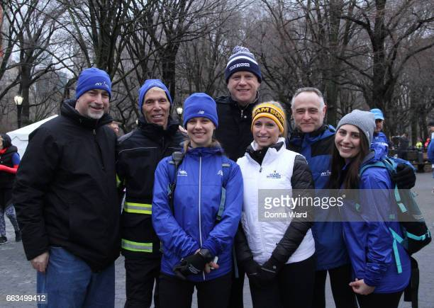 "Peter Ciaccia, Boomer Esiason, Michaela Johnson and Michael Capiraso appear during Boomer's Cystic Fibrosis ""Run To Breathe"" Charity Event at Central..."