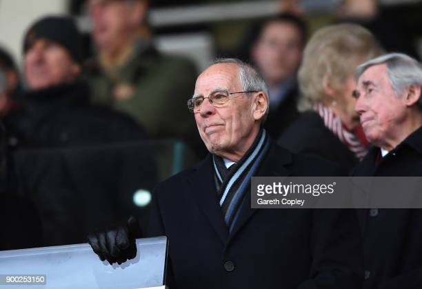 Peter Coates owner of Stoke City FC looks on from the stands during the Premier League match between Stoke City and Newcastle United at Bet365...
