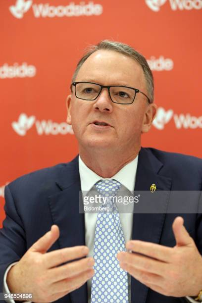 Peter Coleman chief executive officer of Woodside Petroleum Ltd speaks during a news conference following the company's annual general meeting in...