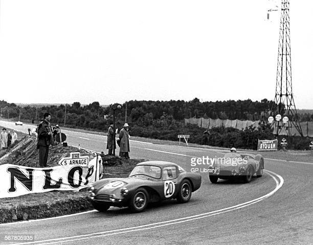 Peter Collins Prince Bira Aston Martin DB3S Coupe leading the Reg Parnell DB3S at Le Mans France 1954