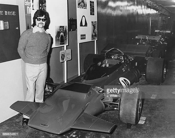 Peter Connew stands beside his own designed and garage built Connew Racing Team Connew PC1 Ford V8 Formula One Grand Prix car at the Evening News...