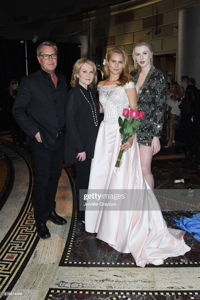 Peter Cook, Sherri Hill, Sailor Brinkley-Cook and Ireland Baldwin pose backstage during the NYFW Sherri Hill Runway Show on February 9, 2018 in New York City.