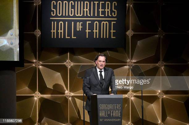 Peter Cooper speaks onstage during the Songwriters Hall Of Fame 50th Annual Induction And Awards Dinner at The New York Marriott Marquis on June 13...