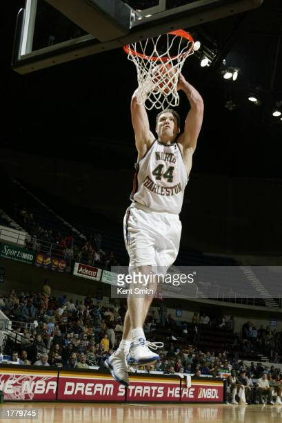 Peter Cornell of the North Charleston Lowgators dunks during the game against the Huntsville Flight at the Von Braun Center on January 31 2003 in...