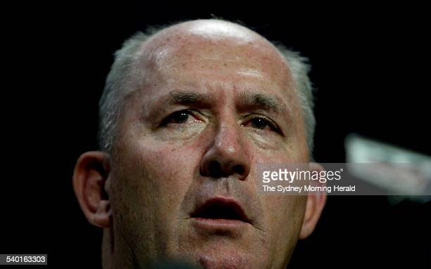 Peter Cosgrove chief of the Australian Defence Force at a press conference about the navy Sea King helicopter crash in Canberra 3 April 2005 SMH...