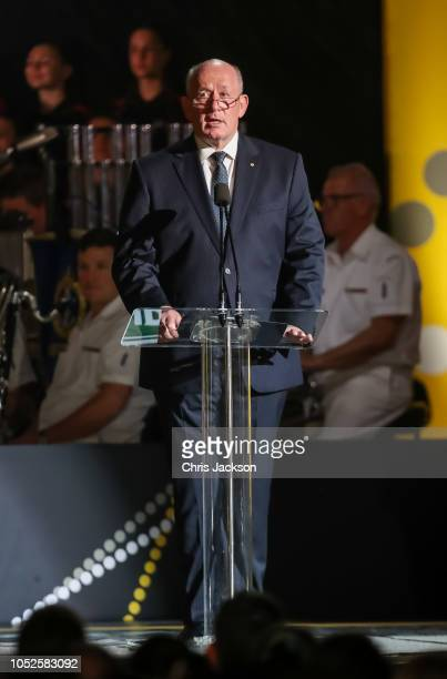 Peter Cosgrove making a speech during the Invictus Games Sydney 2018 Opening Ceremony at Sydney Opera House on October 20 2018 in Sydney Australia