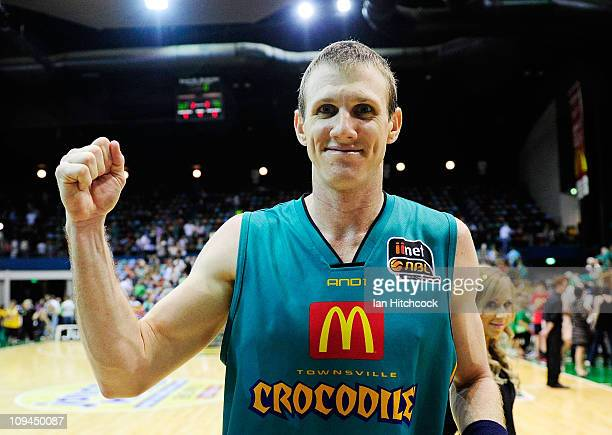 Peter Crawford of the Crocodiles celebrates after winning the round 20 NBL match between the Townsville Crocodiles and the Sydney Kings at Townsville...