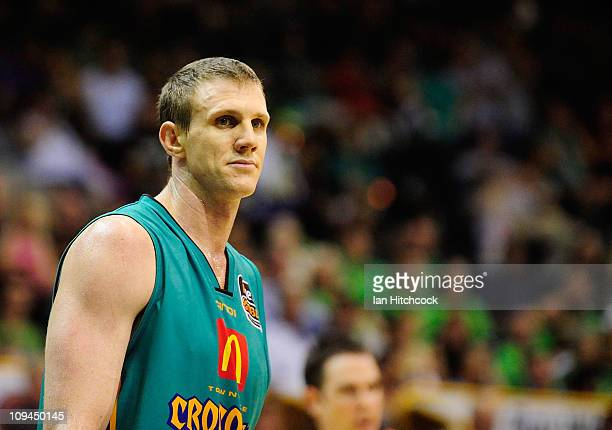 Peter Crawford of the Crocodiles looks on during the round 20 NBL match between the Townsville Crocodiles and the Sydney Kings at Townsville...