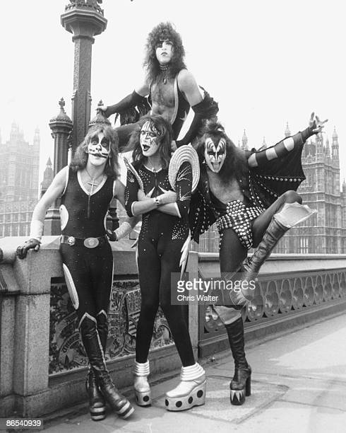 Peter Criss Ace Frehley Paul Stanley and Gene Simmons of KISS in London 1976