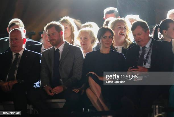 Peter Crosgrove Prince Harry Duke of SussexÊandÊMeghan Duchess of Sussex seated watching during the Invictus Games Sydney 2018 Opening Ceremony at...