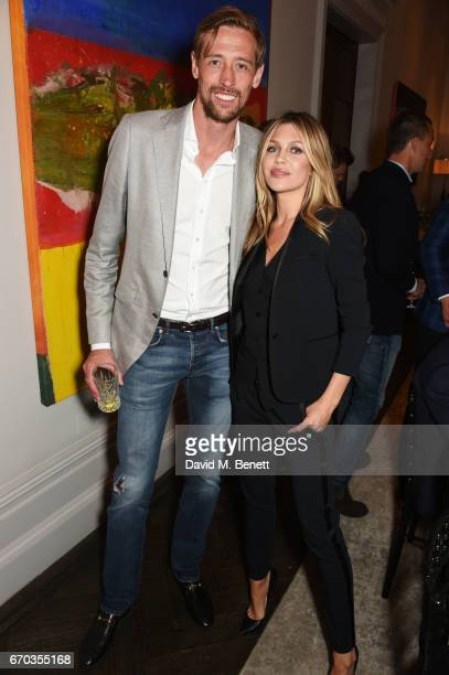 Peter Crouch and Abbey Clancy attend a VIP dinner celebrating the private view of The Maddox Gallery's Bradley Theodore exhibition at The Arts Club...
