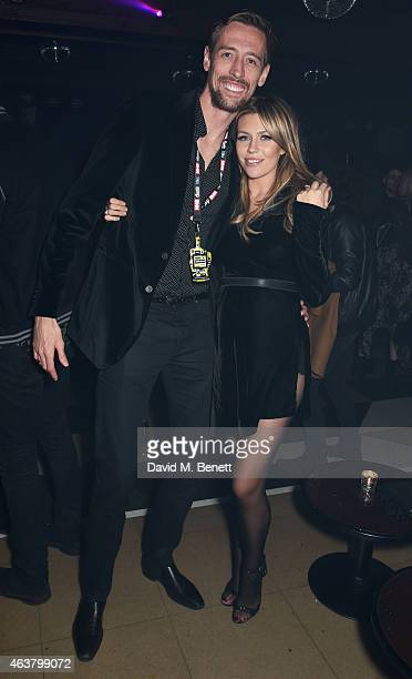 Peter Crouch and Abbey Clancy attend the NME Awards after party at Cuckoo Club on February 18 2015 in London England