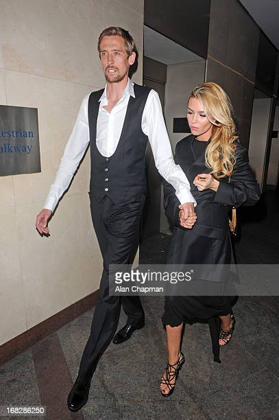 Peter Crouch and Abbey Clancy sighting leaving the Hilton Hotel following the Ledley King Testimonial Gala Dinner on May 7 2013 in London England