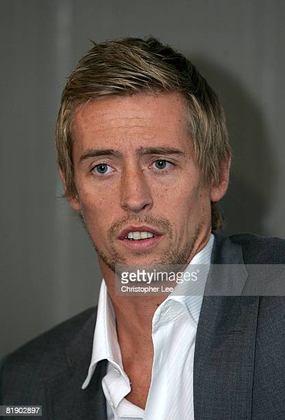 Peter Crouch attends the press conference to announce his signing to Portsmouth FC at Fratton Park on July 11 2008 in Portsmouth England