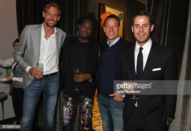 Peter Crouch Bradley Theodore John Terry and Jamie Redknapp attend a VIP dinner celebrating the private view of The Maddox Gallery's Bradley Theodore...