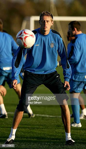 Peter Crouch in action during an England Training session ahead of the match Between England and Argentina at Manchester United Training Ground on...