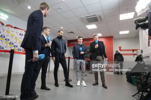 Peter Crouch, Joe Cole, Rio Ferdinand and Harry Wilson of Bournemouth with BT Sport's Jake Humphrey during the Premier League match between Liverpool...