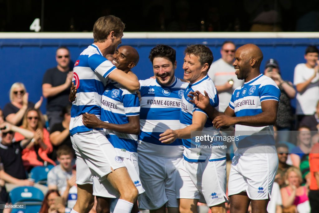 Peter Crouch, Mo Farah, Marcus Mumford, Ben Shephard and DJ Spoony during the #GAME4GRENFELL at Loftus Road on September 2, 2017 in London, England. The charity football match has been set up to benefit those who were affected in the Grenfell Tower disaster.