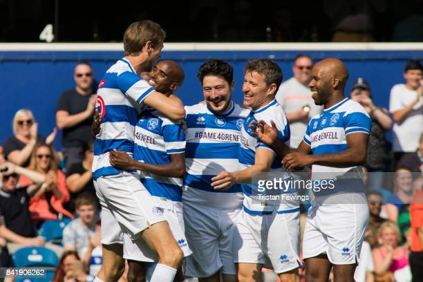 Peter Crouch Mo Farah Marcus Mumford Ben Shephard and DJ Spoony during the #GAME4GRENFELL at Loftus Road on September 2 2017 in London England The...