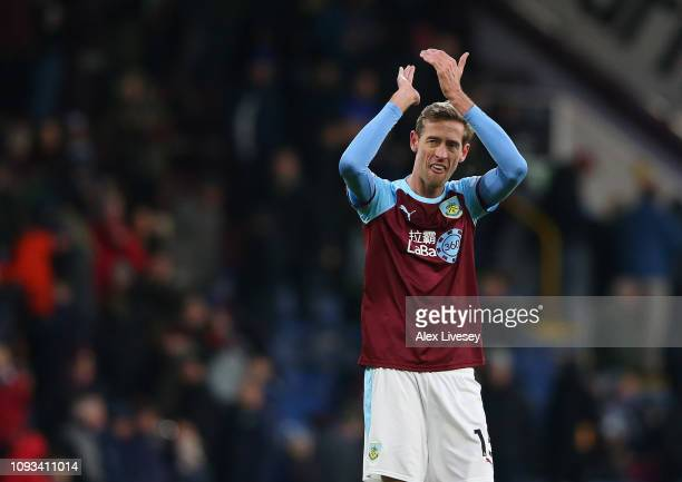 Peter Crouch of Burnley applauds their supporters after the Premier League match between Burnley FC and Southampton FC at Turf Moor on February 2...