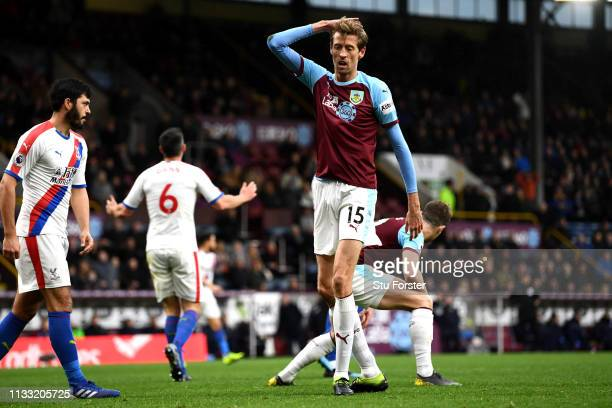 Peter Crouch of Burnley looks dejected during the Premier League match between Burnley FC and Crystal Palace at Turf Moor on March 02 2019 in Burnley...