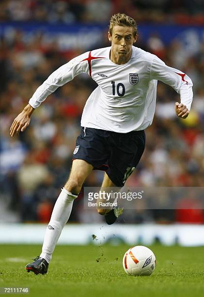 Peter Crouch of England in action during the Euro 2008 Qualifying match between England and Macedonia at Old Trafford on October 7 2006 in Manchester...