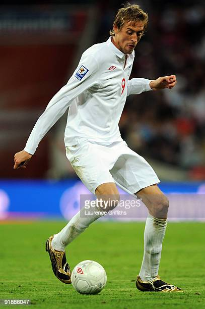 Peter Crouch of England in action during the FIFA 2010 World Cup Qualifying Group 6 match between England and Belarus at Wembley Stadium on October...