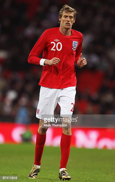 Peter Crouch of England in action during the International Friendly match between England and Egypt at Wembley Stadium on March 3, 2010 in London,...