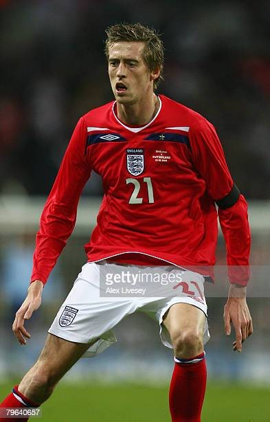 Peter Crouch of England looks on during the international friendly match between England and Switzerland at Wembley Stadium on February 6 2008 in...