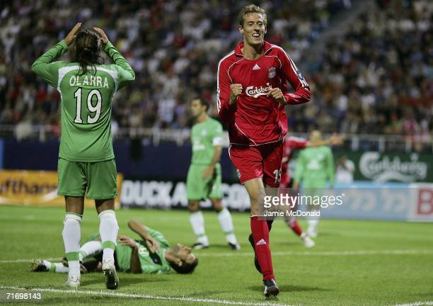 Peter Crouch of Liverpool celebrates his goal during the UEFA Champions League third qualifying round second leg match between Maccabi Haifa and...