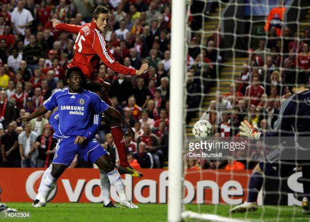 Peter Crouch of Liverpool heads on goal during the UEFA Champions League semi final second leg match between Liverpool and Chelsea at Anfield on May...