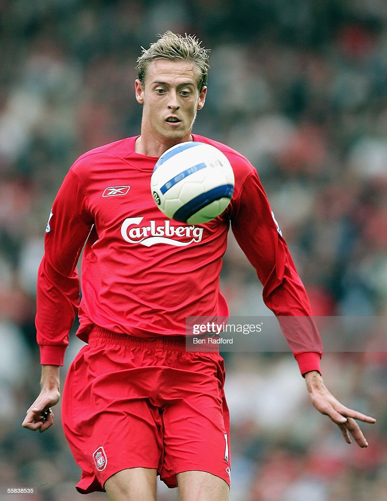 Peter Crouch of Liverpool in action during the Barclays Premiership match between Liverpool and Chelsea at Anfield on October 2, 2005 in Liverpool, England.