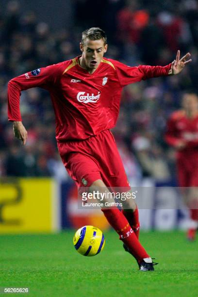 Peter Crouch of Liverpool in action during the UEFA Champions League match between Liverpool and Real Betis at Anfield on November 23 2005 in...