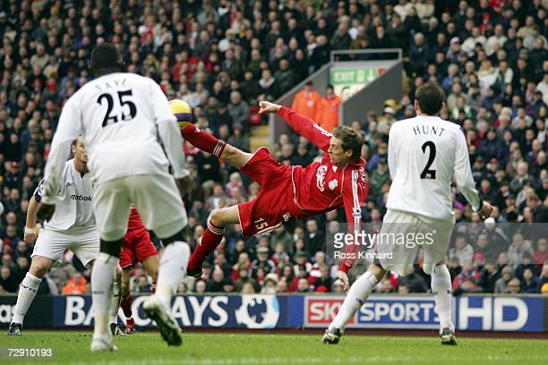 Peter Crouch of Liverpool scores the first goal during the Barclays Premiership match between Liverpool and Bolton Wanderers at Anfield on January 1...