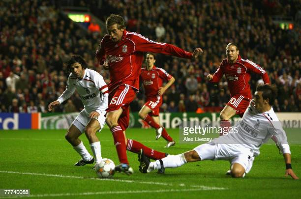 Peter Crouch of Liverpool scores the opening goal during the UEFA Champions League Group A match between Liverpool and Besiktas at Anfield on...