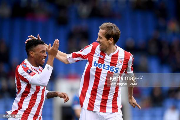 Peter Crouch of Stoke City celebrates after scoring a goal to make it 11 during the FA Cup Third Round match between Shrewsbury Town v Stoke City at...