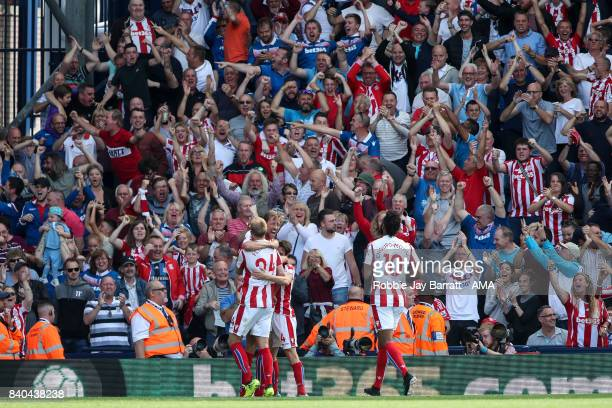 Peter Crouch of Stoke City celebrates after scoring a goal to make it 11 during the Premier League match between West Bromwich Albion and Stoke City...