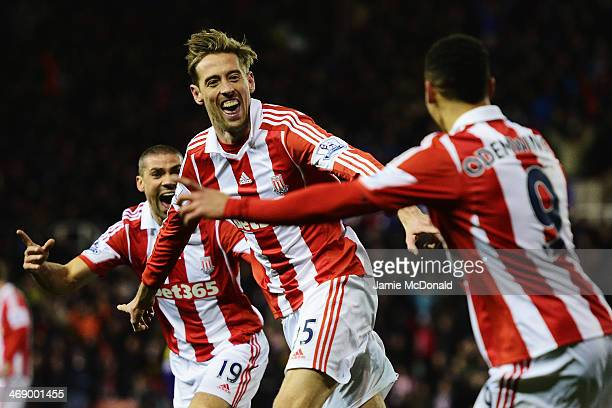 Peter Crouch of Stoke City celebrates after scoring during the Barclays Premier League match between Stoke City and Swansea City at the Britannia...