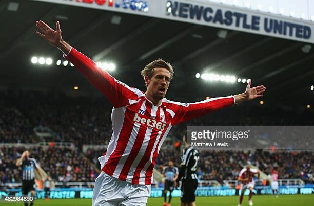 Peter Crouch of Stoke City celebrates as he scores their first and equalising goal during the Barclays Premier League match between Newcastle United...