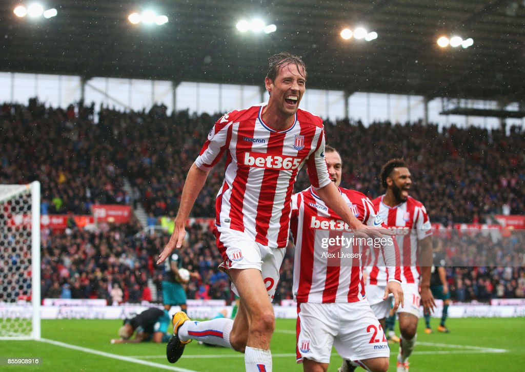 Peter Crouch of Stoke City celebrates scoring his sides second goal during the Premier League match between Stoke City and Southampton at Bet365 Stadium on September 30, 2017 in Stoke on Trent, England.