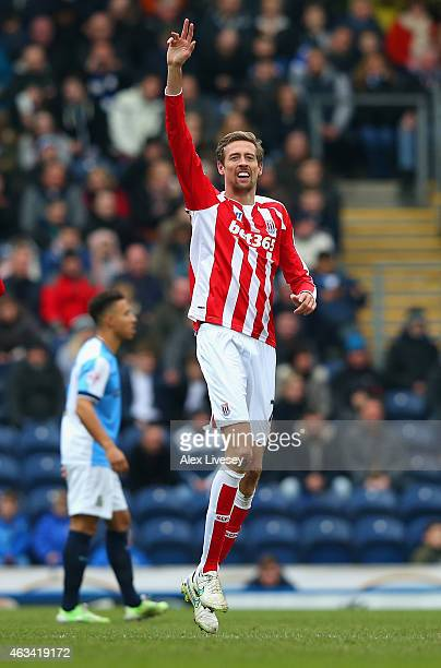 Peter Crouch of Stoke City celebrates scoring opening goal during the FA Cup Fifth Round match between Blackburn Rovers and Stoke City at Ewood park...