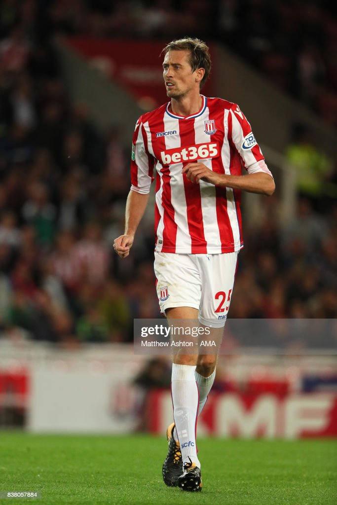 Peter Crouch of Stoke City during the Carabao Cup Second Round match between Stoke City and Rochdale at Bet365 Stadium on August 23, 2017 in Stoke on Trent, England.