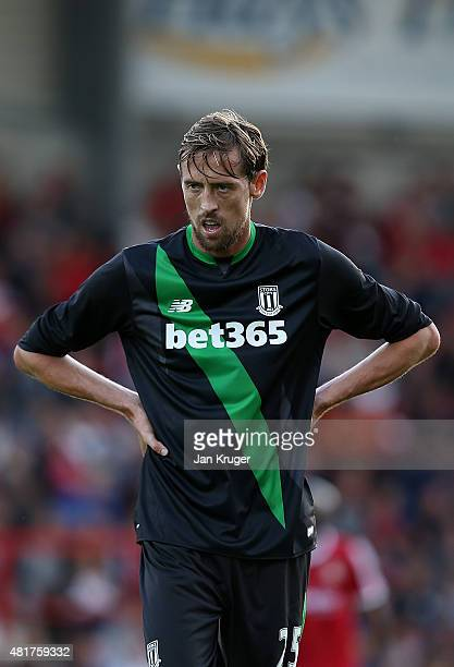 Peter Crouch of Stoke City during the pre season friendly match between Wrexham and Stoke City at Racecourse Ground on July 22 2015 in Wrexham Wales