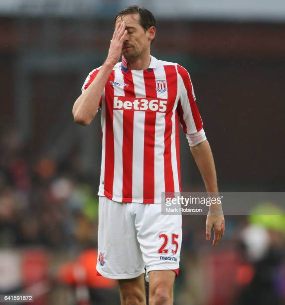 Peter Crouch of Stoke City during the Premier League match between Stoke City and Crystal Palace at Bet365 Stadium on February 11 2017 in Stoke on...