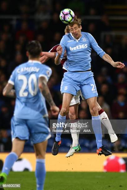 Peter Crouch of Stoke City during the Premier League match between Burnley and Stoke City at Turf Moor on April 4 2017 in Burnley England