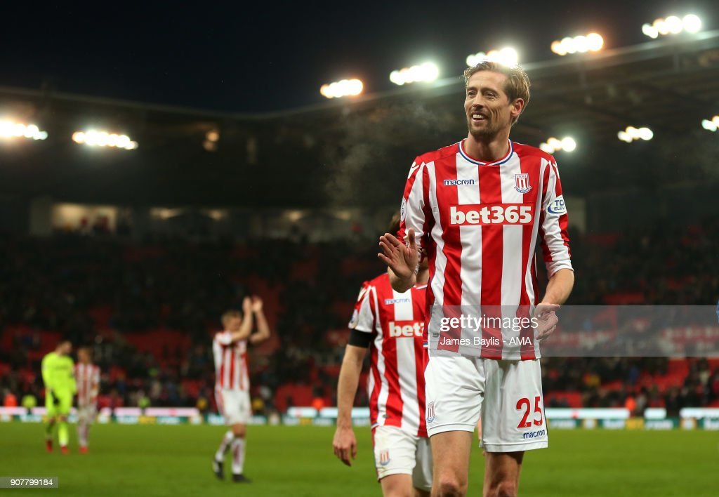 Peter Crouch of Stoke City during the Premier League match between Stoke City and Huddersfield Town at Bet365 Stadium on January 20, 2018 in Stoke on Trent, England.