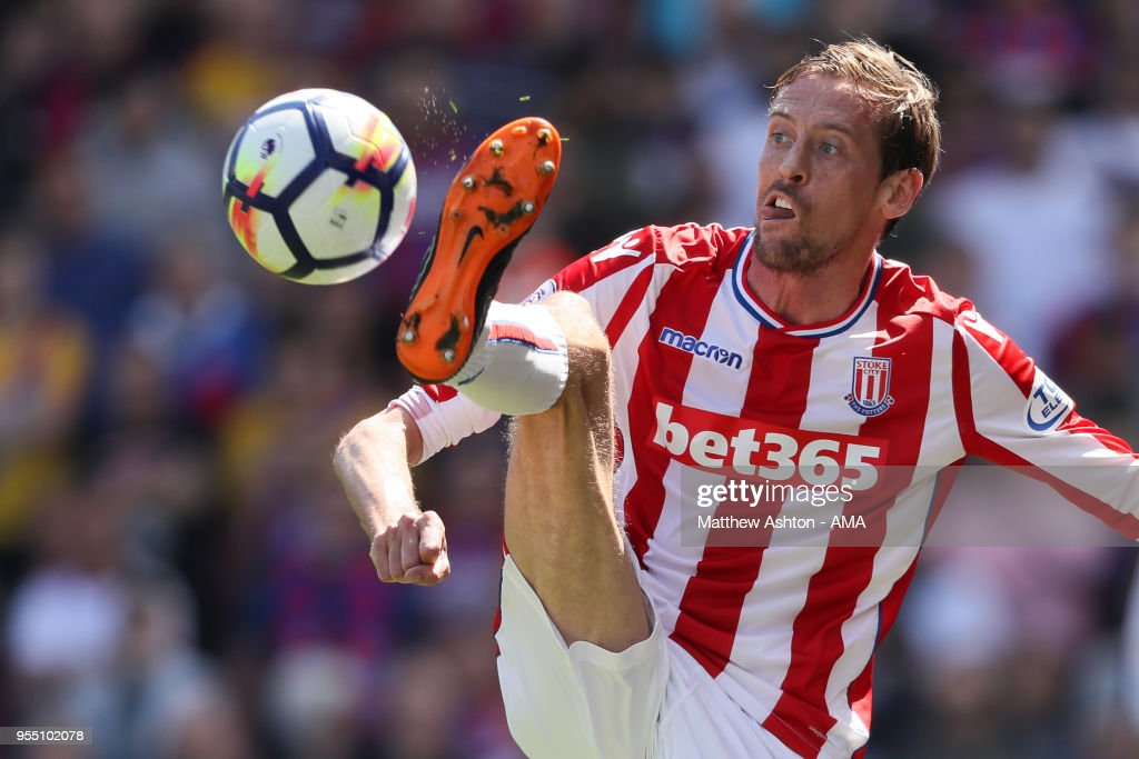 Peter Crouch of Stoke City during the Premier League match between Stoke City and Crystal Palace at Bet365 Stadium on May 5, 2018 in Stoke on Trent, England.